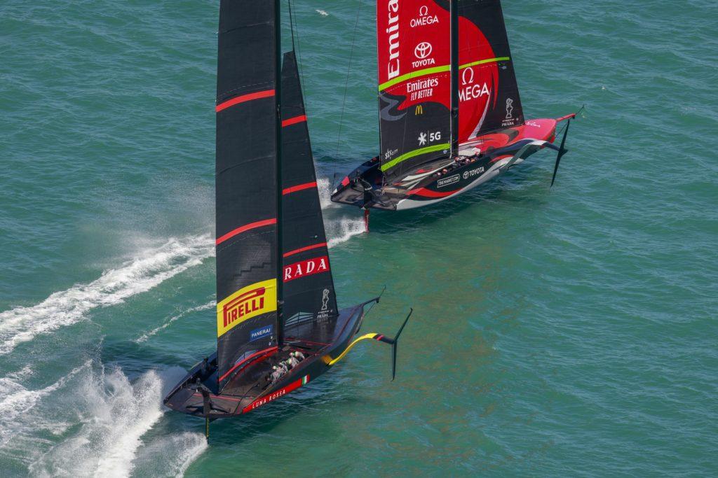 36th America's Cup presented by Prada Race Day 1 Luna Rossa Prada Pirelli Team, Emirates Team New Zealand