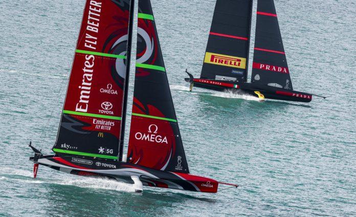 36th America's Cup presented by Prada Race Day 3 Emirates Team New Zealand, Luna Rossa Prada Pirelli Team